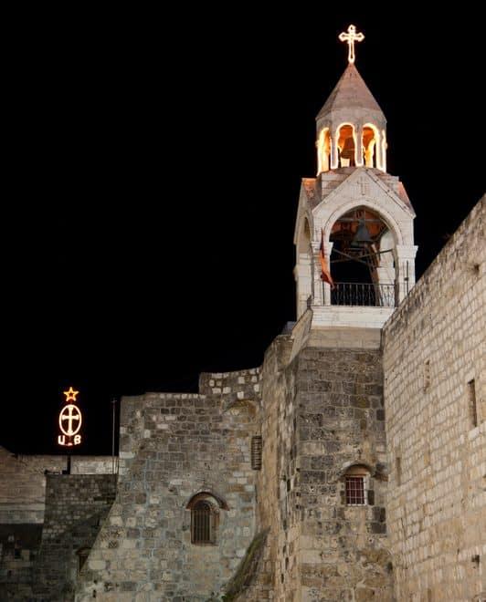 Bethlehem church at night on Holy Land pilgrimage