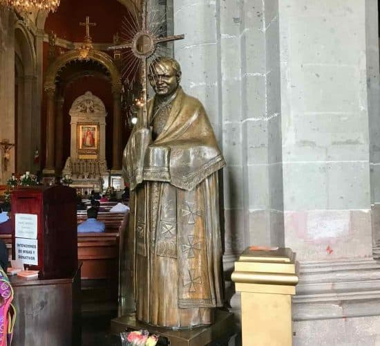 Guadalupe old basilica JPII statue on pilgrimage