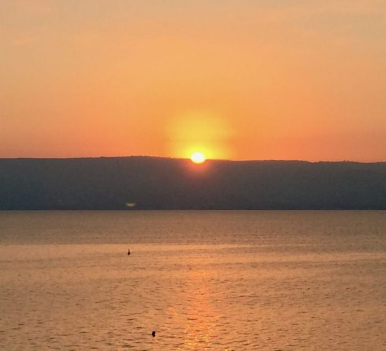 Sea of Galilee sunrise in Holy Land