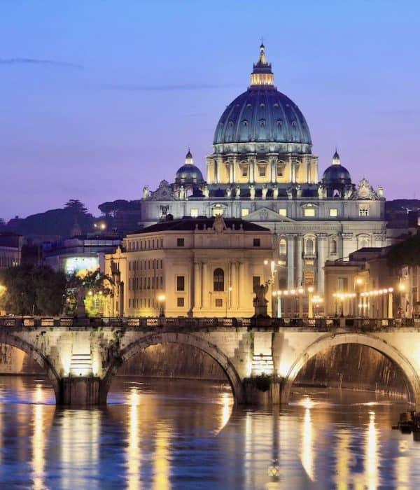 Vatican at night on Rome Pilgrimage